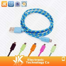 JK Wholesale for iphone fabric braided charger usb cable,cell phone braided micro usb cable for mobile phone