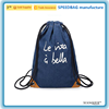 Wholesale leisure blue cowboy canvas drawstring backpack rope handle bag