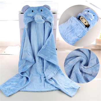 Made in China hooded fleece baby blanket animal head hood swaddle