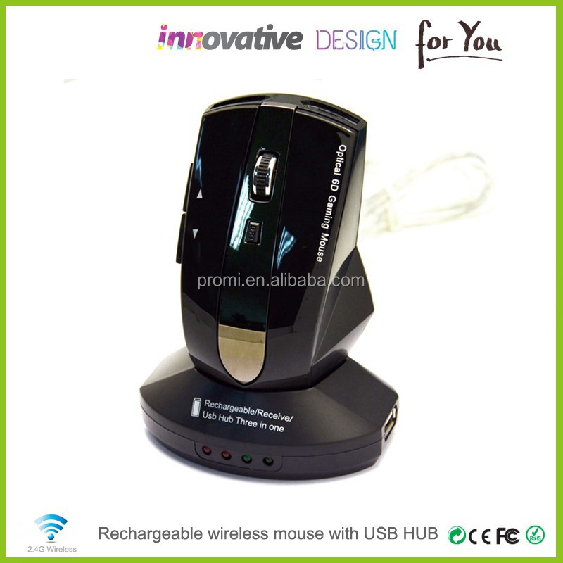Best Promotion Gift For VIP Cool Design 2.4g Wireless Rechargeable Mouse With Docking Station USB Hub