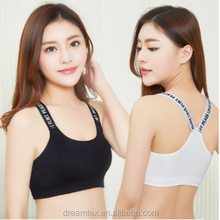 Summer English Letters Campaign Strapless Sexy sport bra gym bra with Off-the-shoulder Sport Vest
