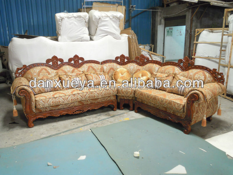 Antique solid wood high quality linen fabric luxury Lshape corner sofa (DXY3102)