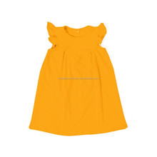 mustard flutter sleeve summer girl dress baby children frocks designs