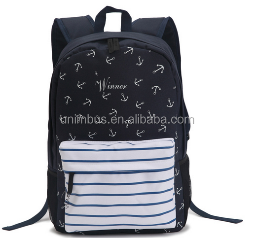 boy full student black back pack with anchor image drawing