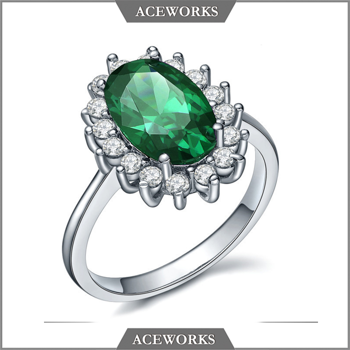 Exquisite Design Emerald color oval stones 925 sterling silver CZ ring