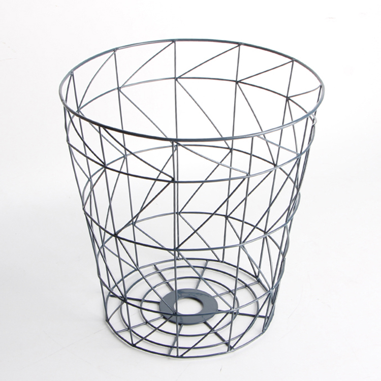 Home Storage Organizing Tall Wire Round Basket Black Coating Laundry Basket