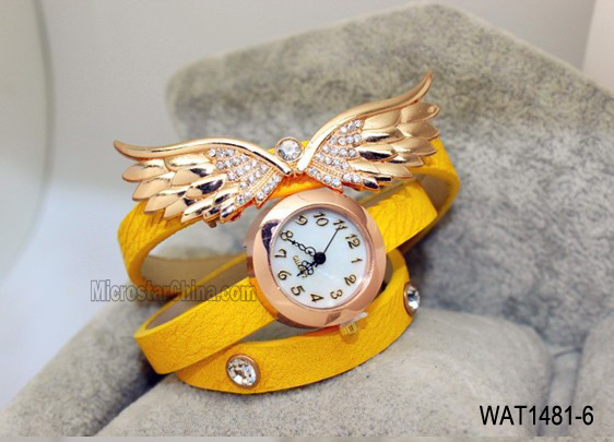 Fashionable for any ages women's wing charms & diamond vintage genuine leather watch