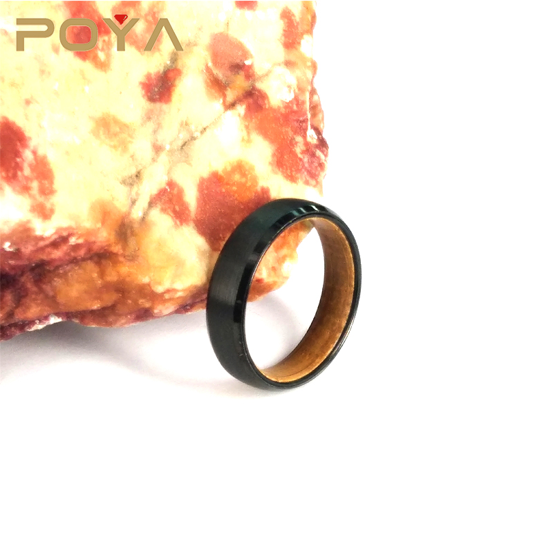 POYA Jewelry 6mm Black Brushed Center Beveled Edges Tungsten Carbide Ring Whiskey Barrel Wood Inlay