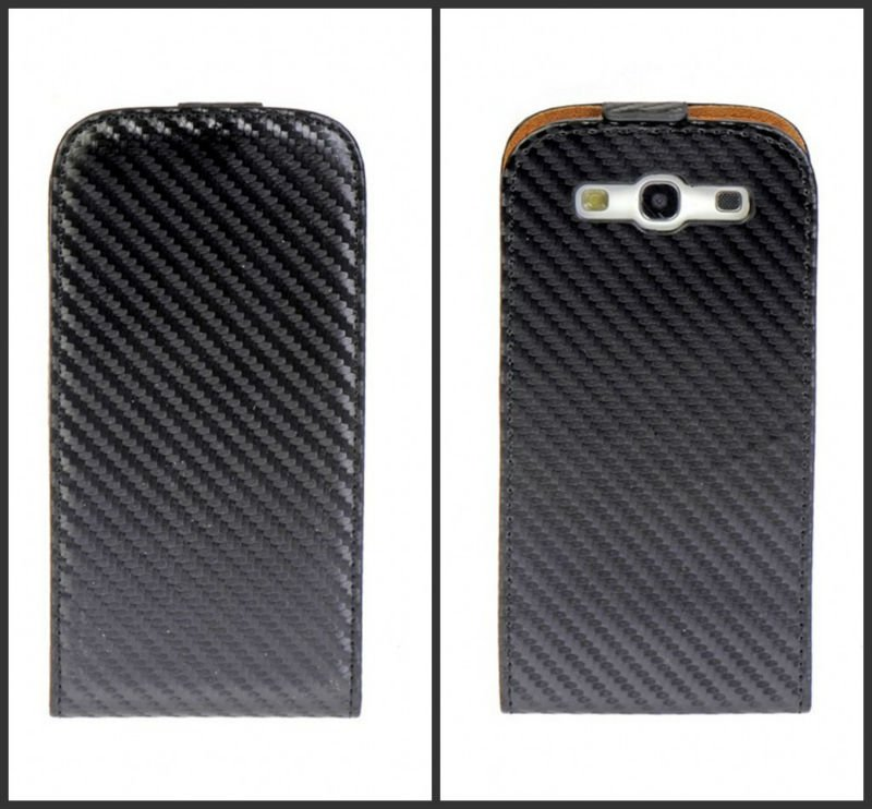 Carbon fiber fabric leather cellphone flip case for Samsung galaxy s3,mobile phone accessories