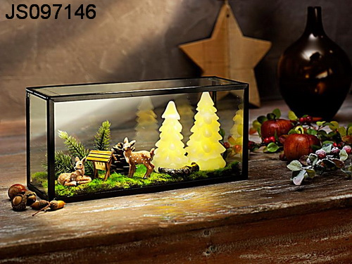 Two led Christmas trees with glass frame and other Christmas decoration, 2016 New Christmas decoration