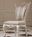 French new classic wooden dining room furniture flower hand carving fabric dining chair
