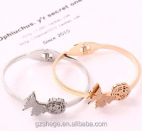 2015 new style stainless steel bangle, elegant fashionable bangle with butterfly and flower