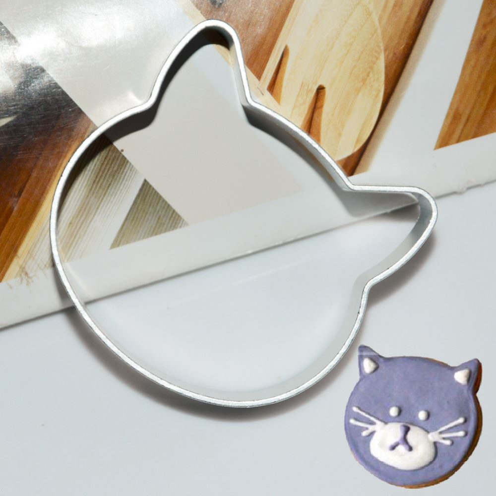 2pcs /set Specialized Metal Alloy Cat Head Shaped Fondant Cookie Cake Sugarcraft Plunger Cutter Cookie Cutter