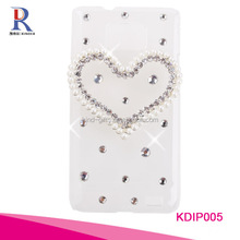 Funky high popular bling sparkle white diamond beaded designer mobile cell phone case cover