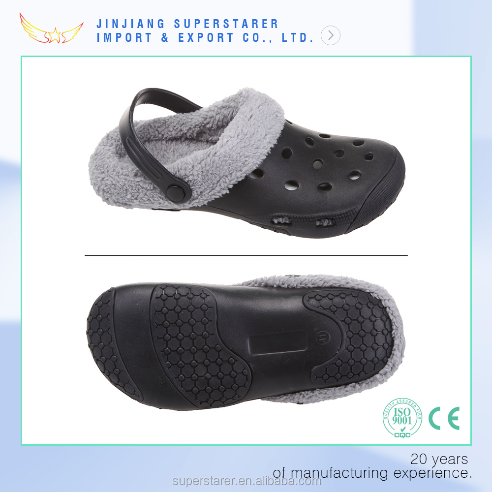 EVA warm cotton men holey garden clogs for winter with fur