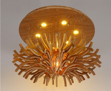 postmodern round wooden LED chandelier Pendant Lighting for hotel