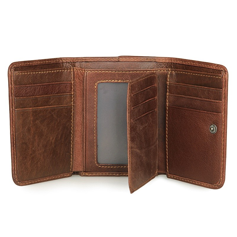 R-8106C Brown Genuine Leather Men's Wallet With RFID Blocking Fabric Sleeve