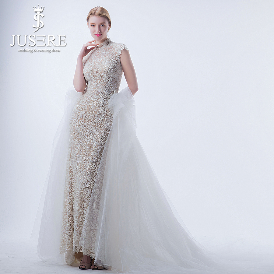 25996688faa JUSERE High Neck Slim Sheath Volume Train Back Sleeveless Extra Skirt  Beading crystal Overlay Mermaid 2 in 1 Wedding Dress 2018-in Wedding Dresses  from ...