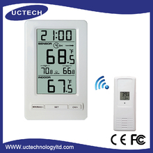 2017 high quality digital plastic wireless indoor/outdoor Thermometer with time