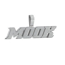 iced out pendant necklace customize 925 silver jewelry logo letters paved bling bling cz stones