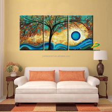 Free sample Abstract Tree canvas painting Digital Prints blue sun raise painting Living room painting 3 piece canvas prints