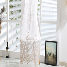 Different curtain designs supply mixed embroidery tulle linen lace fabric drapery