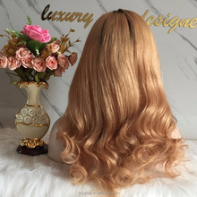 Chinese factory directly sale brazilian hair 1bT honly blond full lace wigs for black women human hair