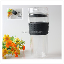 400ML Wholesale Heat Resistant Double Wall Glass Coffee Cup Pyrex Mug With Lid & Silicone Sleeve