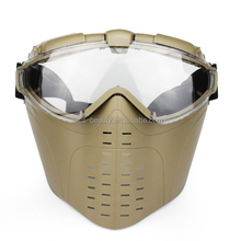 Tactical Outdoor CS War game Anti-Fog Ventilated Hunting Paintball Airsoft Goggles Full Face Electric Fan Gas Mask With Goggle