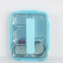 5 sections Bento Lunch Box Divided Food Containers,stainless steel dinner <strong>plate</strong> with lid