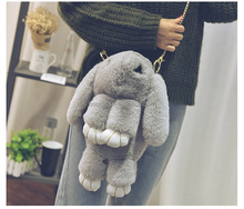 rabbit shape handbags women's bag purses and handbags 2017 Genuine Rex Rabbit Fur Handbag