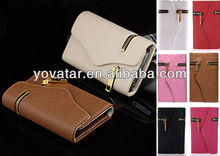 New Multi propose Zipper Wallet Card Flip Leather Case for iPhone 4 4S 4G