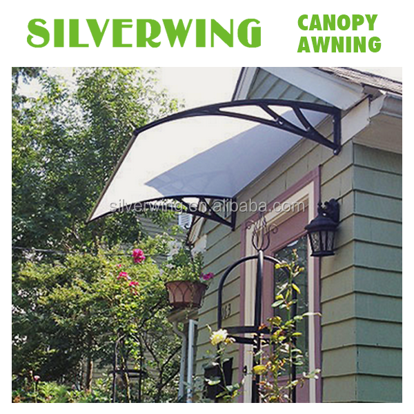 DIY Plastic polycarbonate window awnings for outdoor transparance sun shade canopy