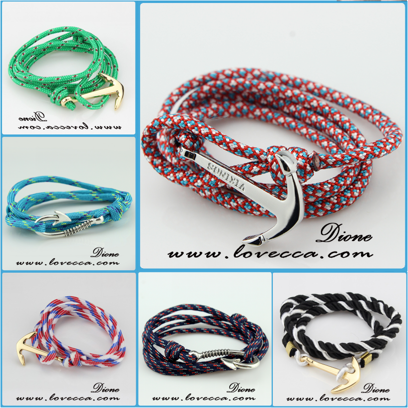 Nautical Sailing Colorful Nylon Rope Bracelet with anchor clasp