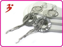 2012 new design alloy silver multi metal disk link chain drop earring (E100789)