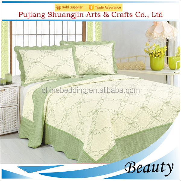 Green color embroidery bed cover design polyester coming home bedding with two shams