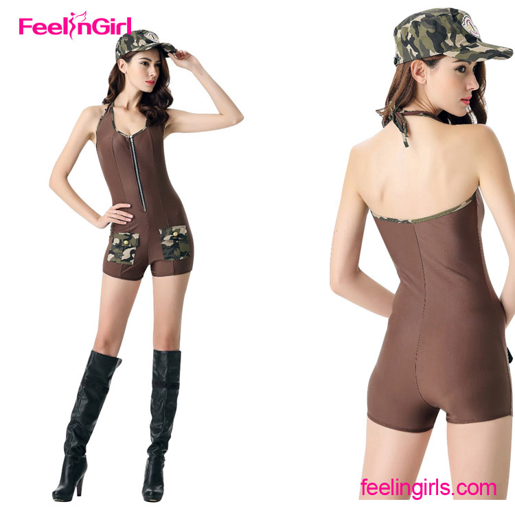 High Quality Backless Jumpsuit Military Dance Sexy Cop Costume With Camouflage Hat