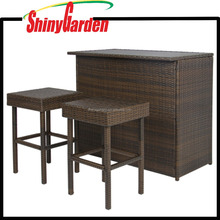 3PC Unique Bar Table And Chair Furniture, Patio Rattan High Garden Wicker Restaurant Outdoor Furniture