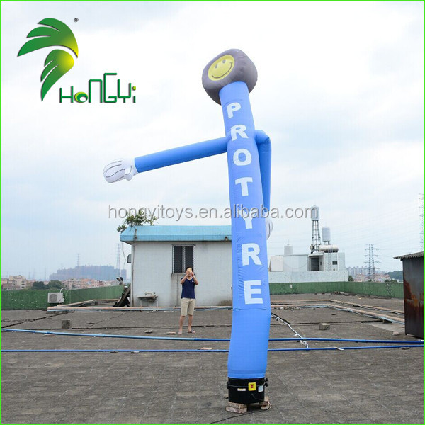 Blue Smile Face Sky Air Dancer , 6m Inflatable Dancing Air Man For Advertising