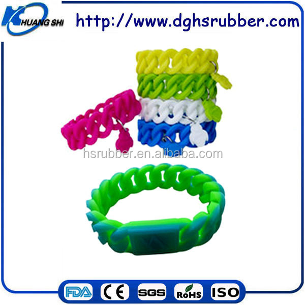 Latest popular design silicone rubber bracelet soft bracelet