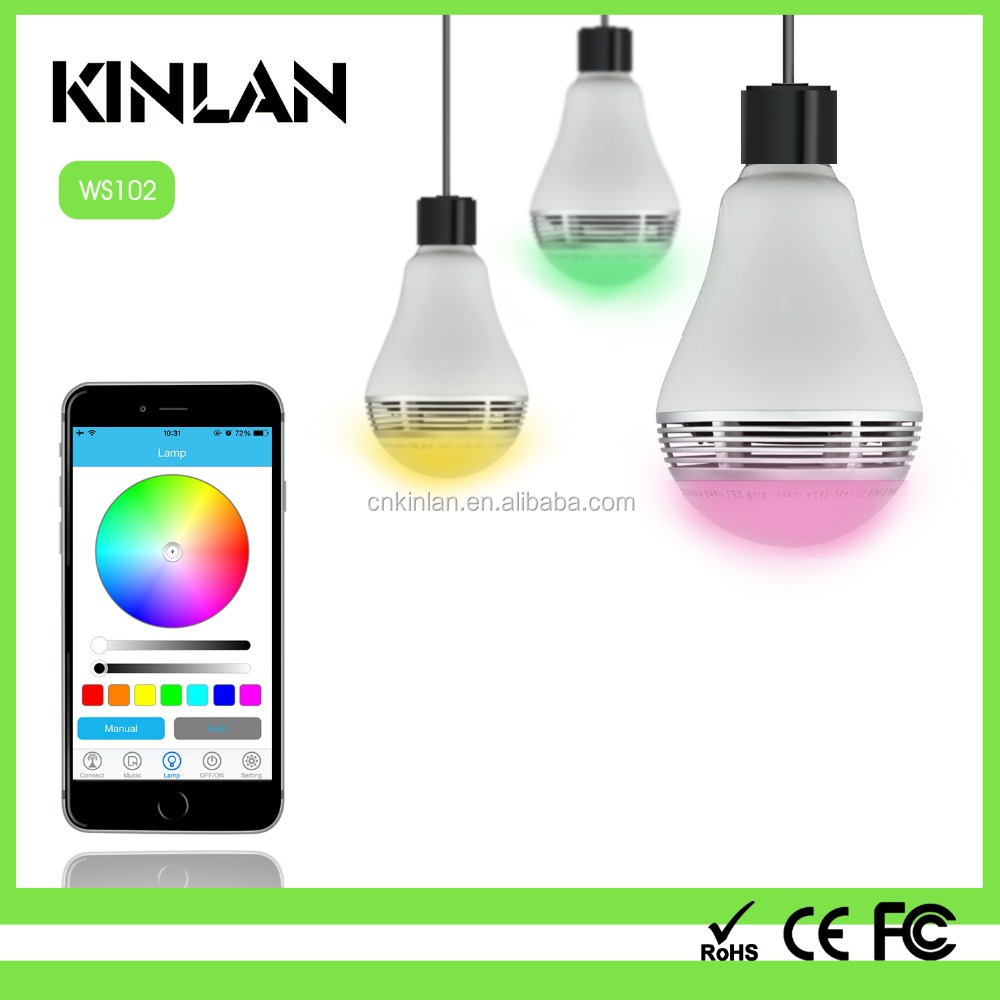 Bluetooth LED light bulb speaker in colorful changable music playing with remote APP control