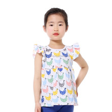 fashion baby clothes 2017 chicken print flutter sleeve baby shirt kids tank tops