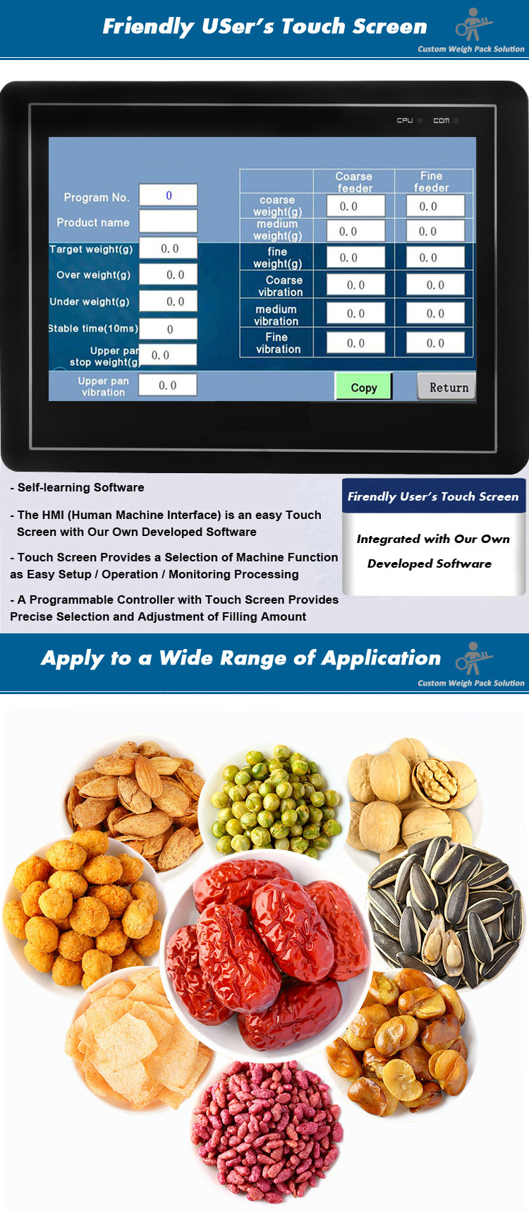Easy operation 4heads linear weigher packaging machine for rice sugar cereals snack foods granules muesli oatmeal