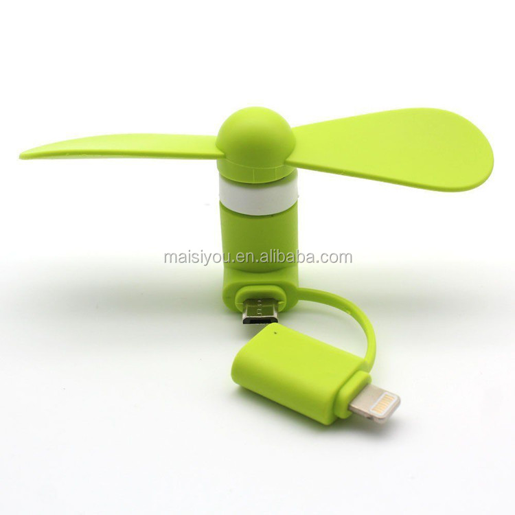 2 in 1 for iPhone Android Fan Micro USB Mobile phone Fan Portable Mini Fan