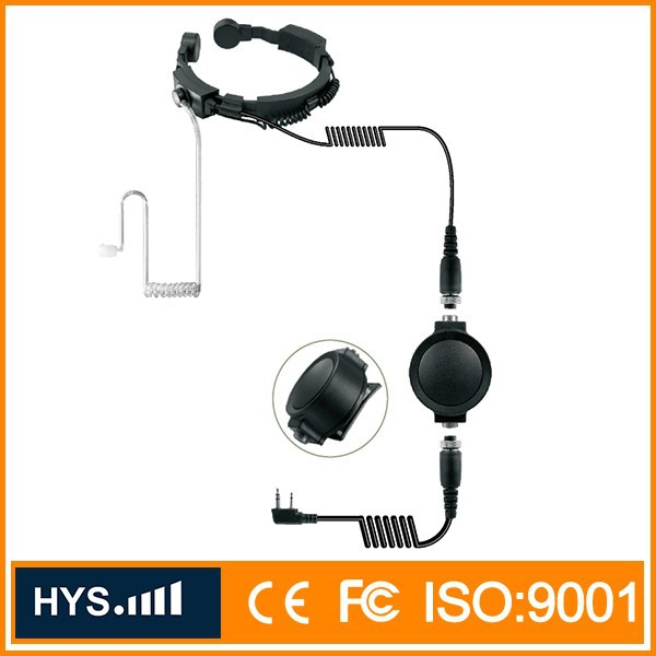 TC-324 Handsfree Covert Acoustic Tube Throat Mic Headset with PTT for Two way Radios