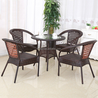 Factory Outdoor Leisure Furniture Coffee Shop Table Chair Set Rattan / Wicker Table Chair Set (Z349)