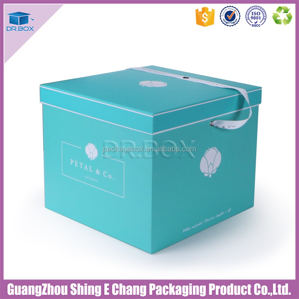 2016 new custom Tiffany Bluce color luxury colorful flower printed paper box for lipstick packaging