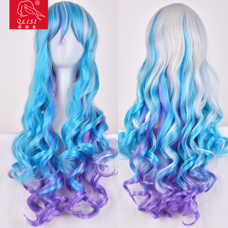 Wigs Sexy Fashion Women Party Long Curly Blue Mixed Synthetic Full Wig+Cap