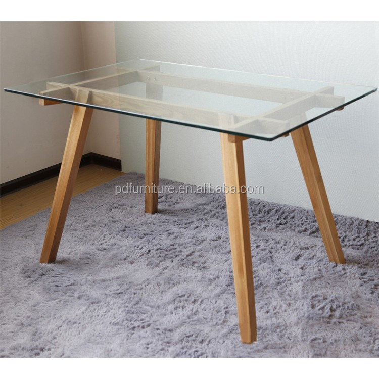 New design rectangular table wall mounted dining table glass table top