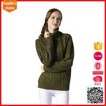 Latest design pullover custom ladys knit wool cable turtleneck sweater